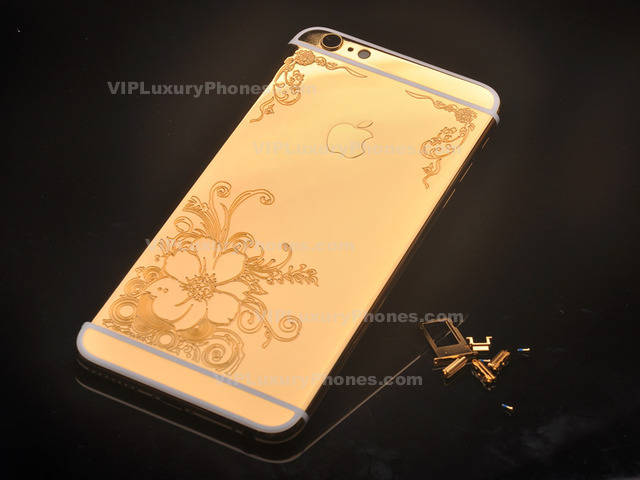 gold iphone 6 plus iphone 6 plus real gold flower housing back replacement part 2197